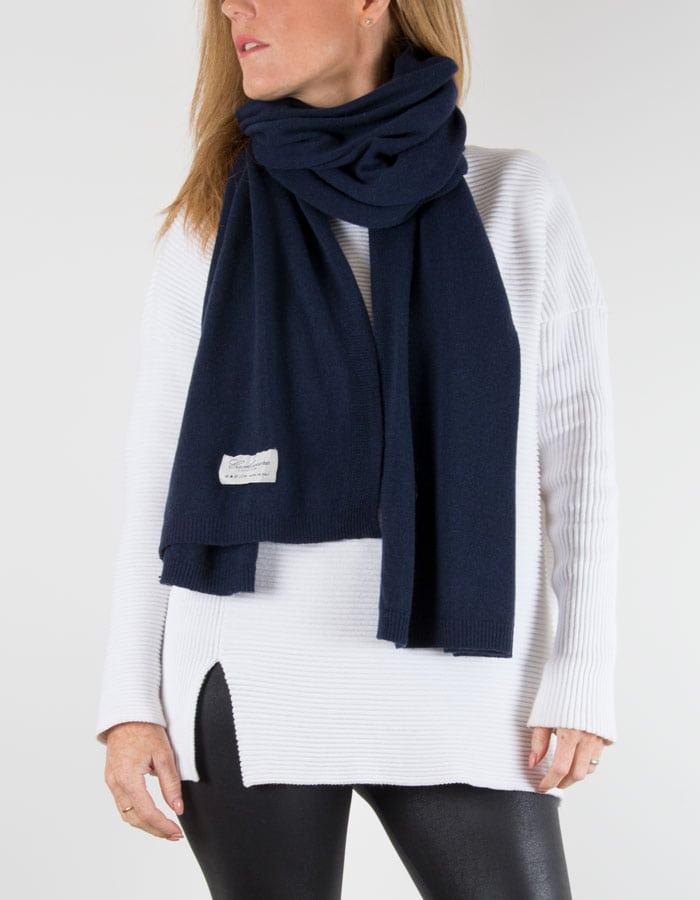 an image of a cashmere mix scarf in navy