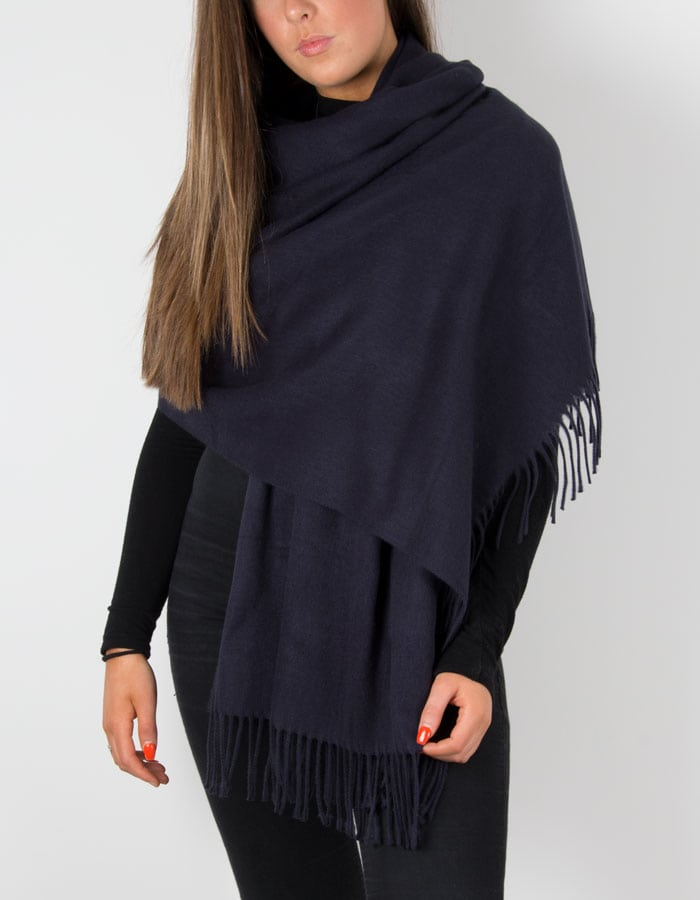 Image of a navy winter pashmina
