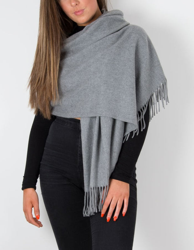 an image showing a winter pashmina in pale grey