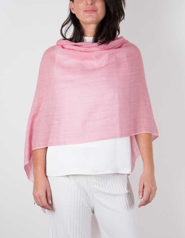 an image showing a silk wool mix wedding shawl in pink