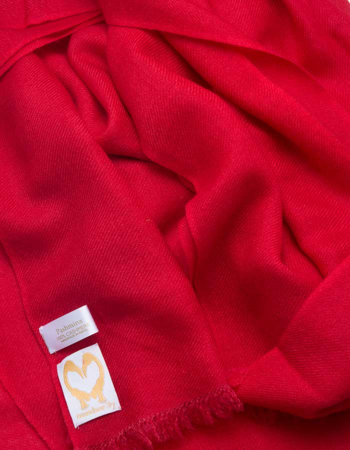 an image showing a pure cashmere pashmina scarf in red