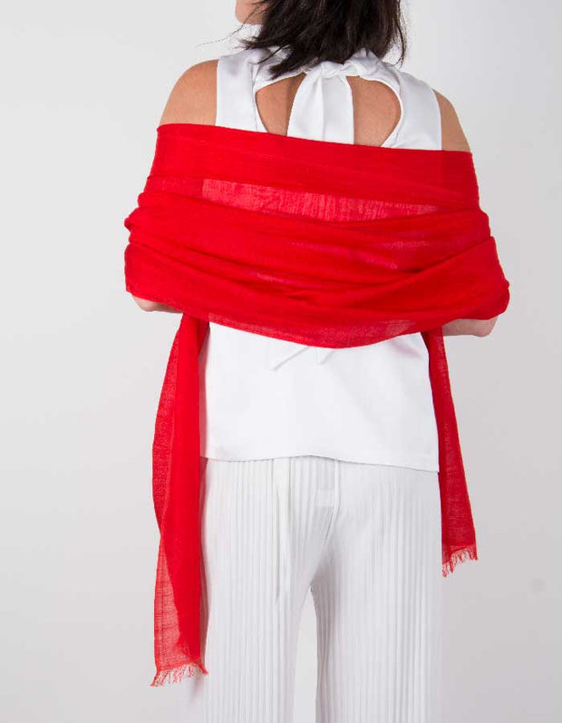 an image showing a silk wool mix wedding shawl in red