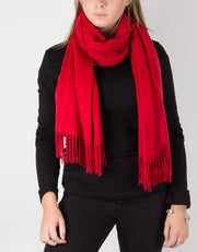 an image showing a winter pashmina in red