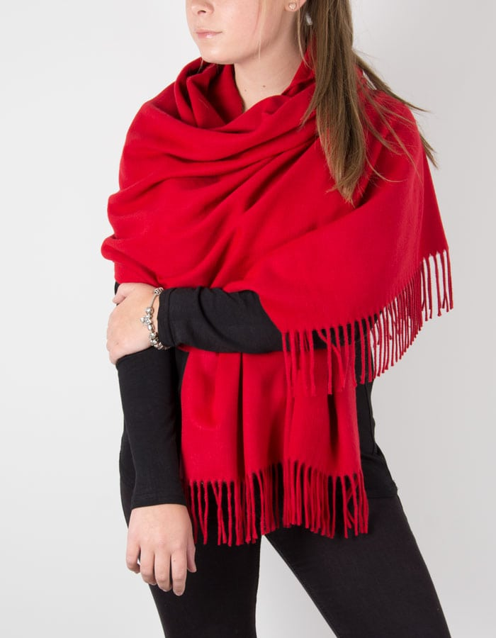 Image showing Red Winter Pashmina