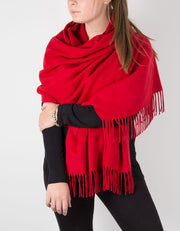 an image showing a red winter pashmina