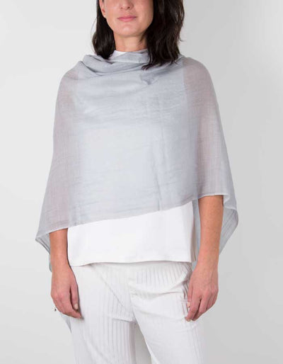 an image showing a silk wool mix wedding shawl in silver grey