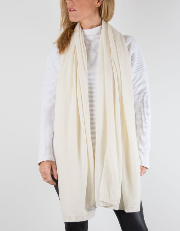 an image showing a cashmere mix scarf in white