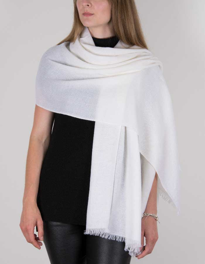 an image showing a pure cashmere pashmina in white