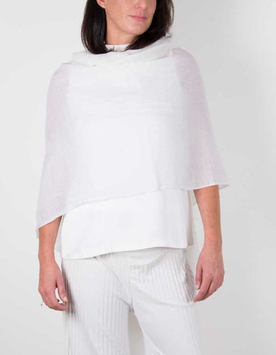 an image showing a silk wool mix wedding shawl in white