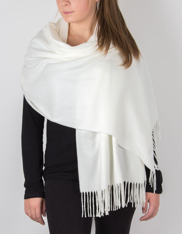 White Winter Pashmina