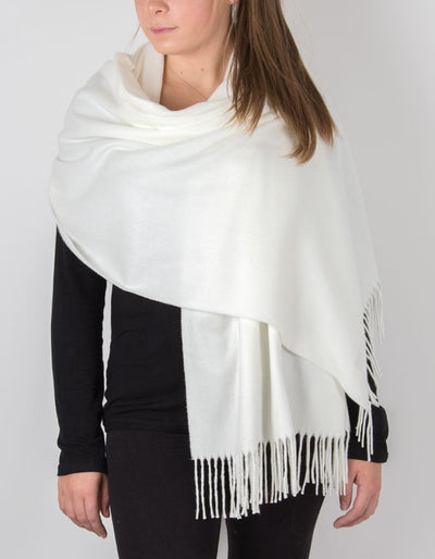 an image showing a winter pashmina in white
