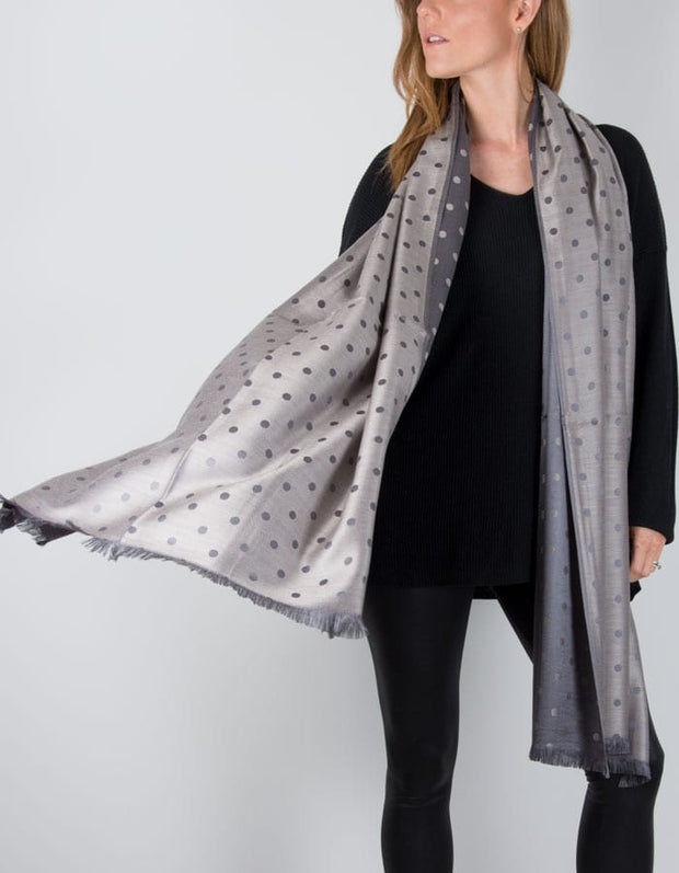 an image showing a Reversible Grey And Bronze Polka Dot Print Pashmina Shawl Wrap Scarf