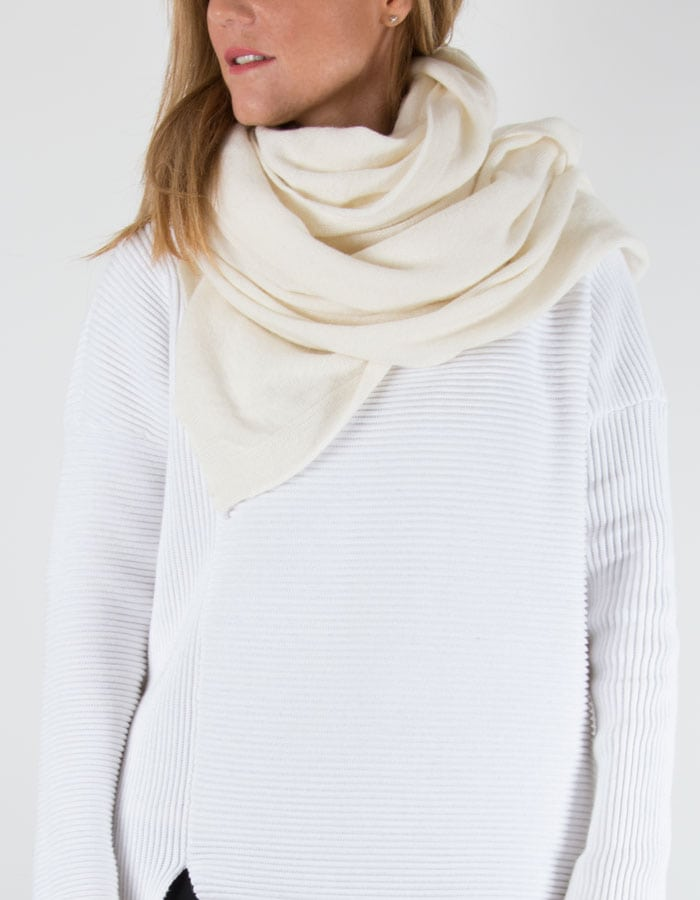 an image of a cashmere mix scarf in cream