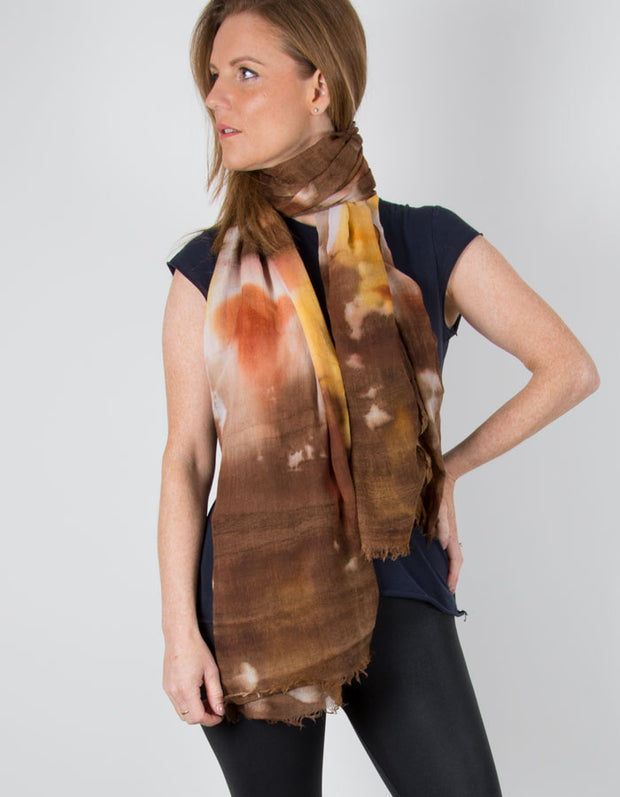 an image showing a Tie Dye Brown Scarf