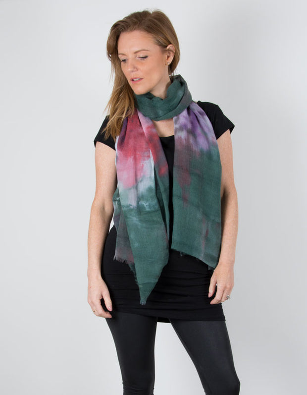 an image showing a Tie-dye scarf Green Purple Pink