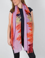 Wool Pashmina Shawl Wrap Scarf - Pink & Orange