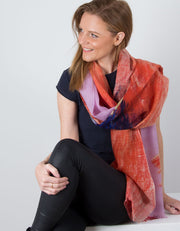 an image showing a Wool Pashmina Shawl Wrap Scarf Pink orange