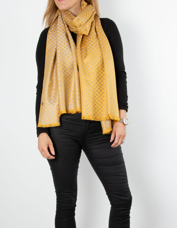 Yellow Star Print Patterned Pashmina