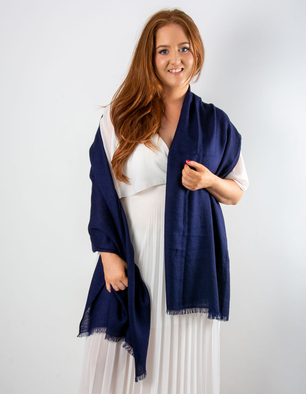 an image showing a cashmere wedding pashmina in navy