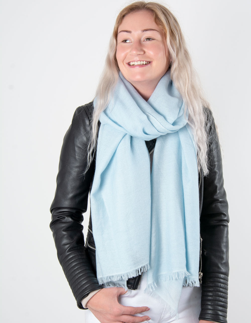 an image showing a pure cashmere pashmina in baby blue