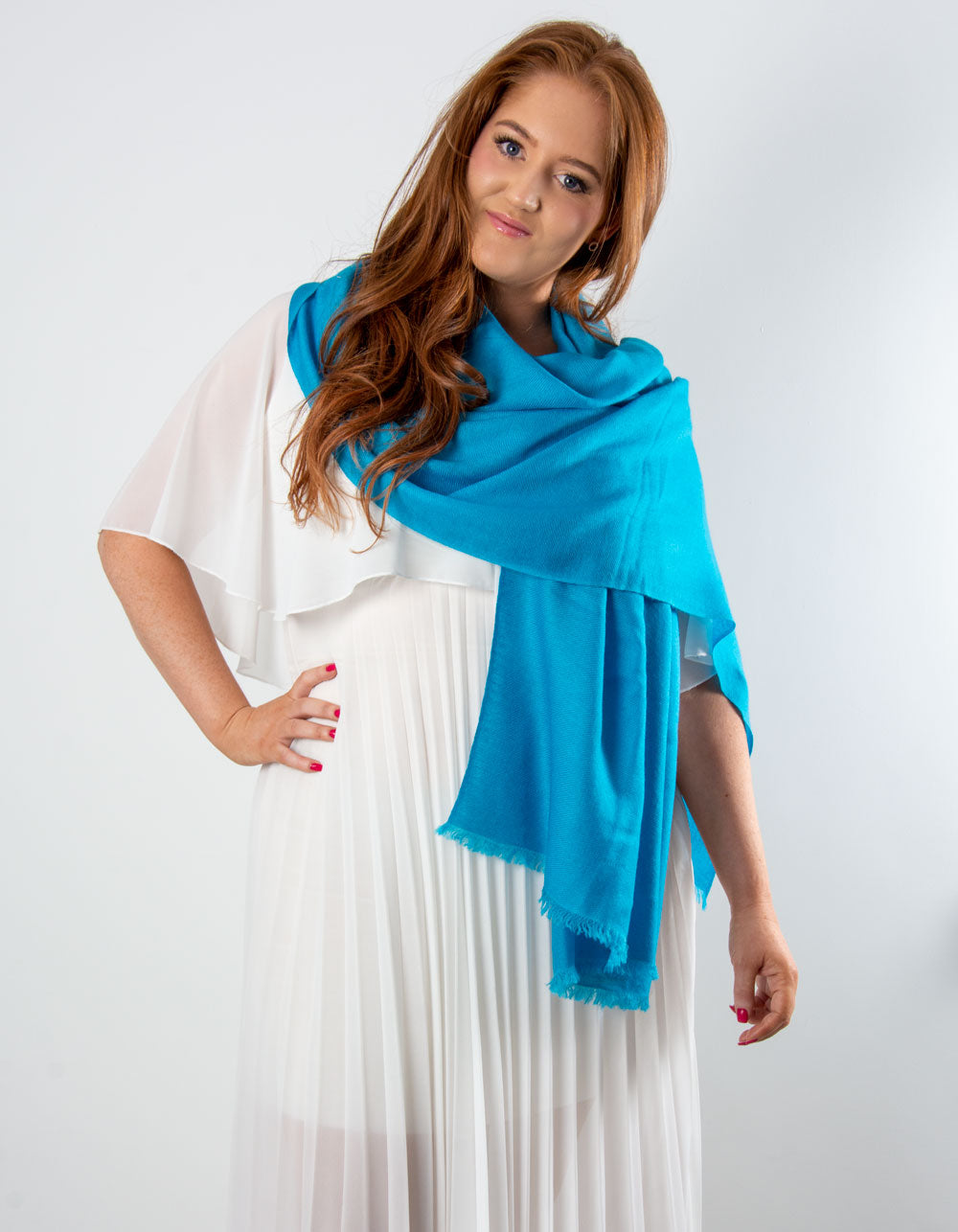 an image showing a cashmere wedding pashmina in blue