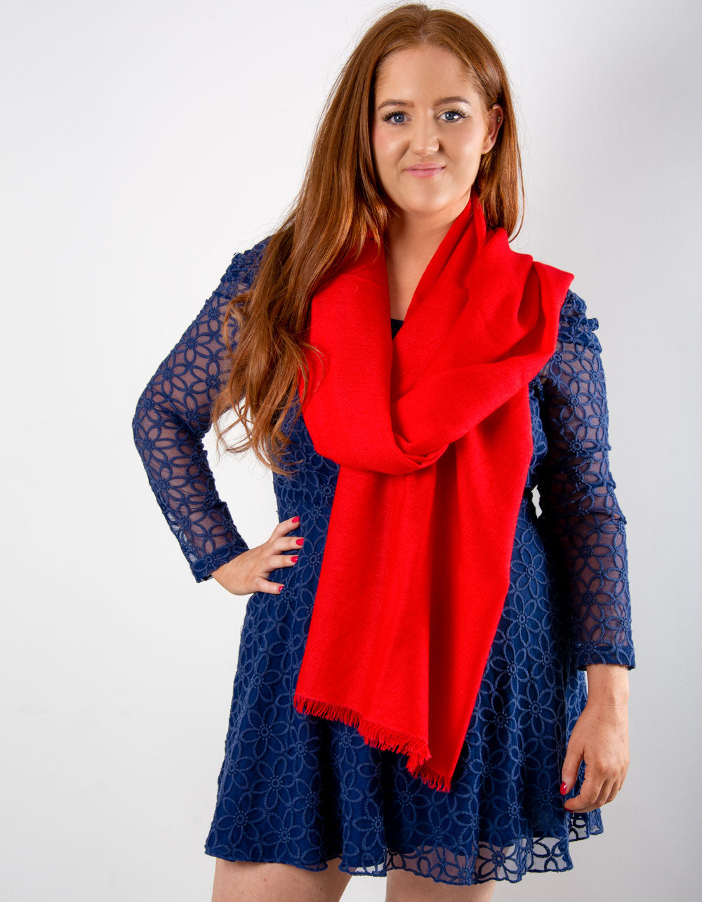 an image showing a cashmere wedding pashmina in red