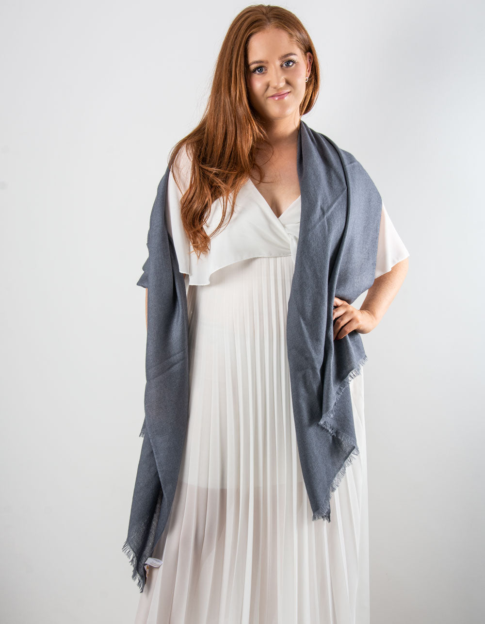 an image showing a cashmere wedding pashmina in dark grey