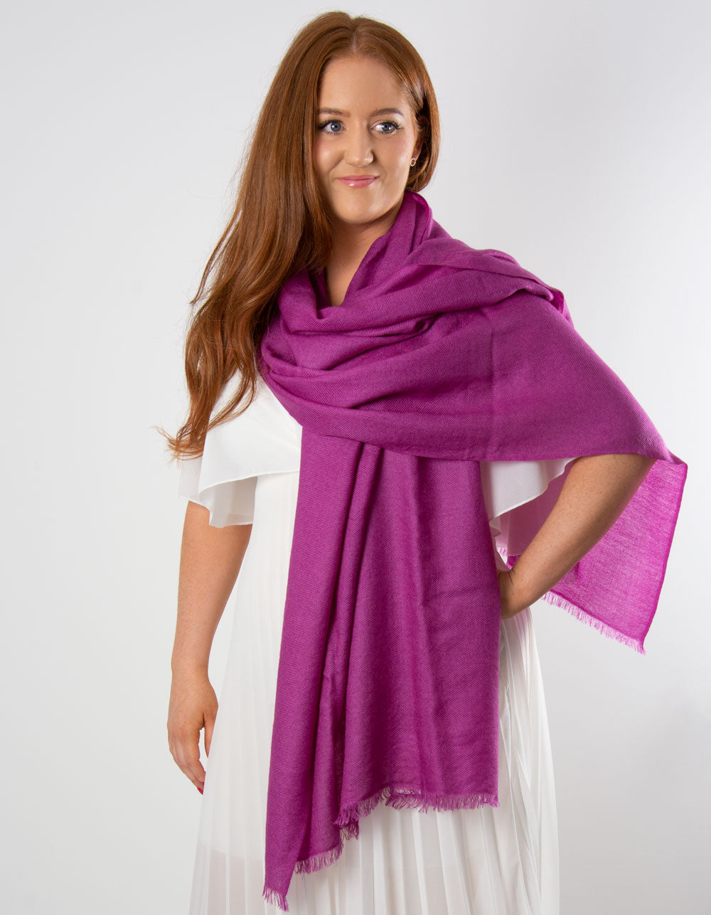 an image showing a cashmere wedding pashmina in purple