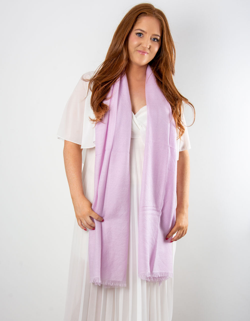 an image showing a cashmere wedding pashmina in lilac