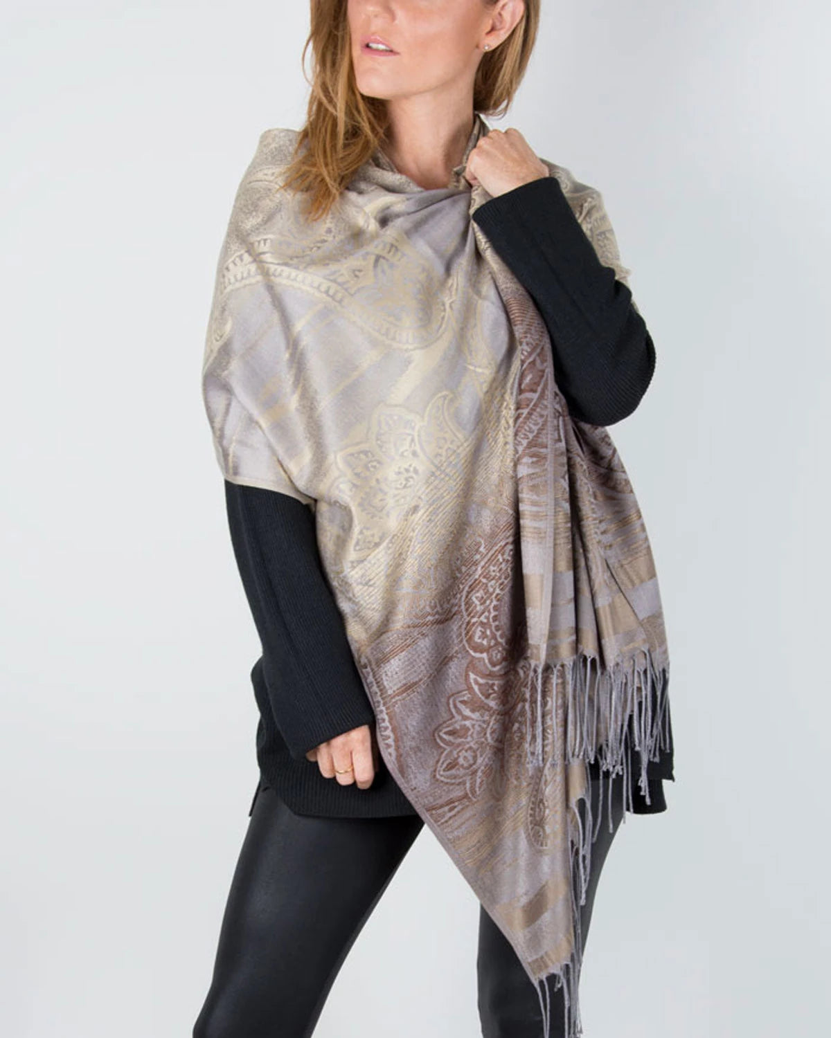 an image showing a bronze paisley pashmina