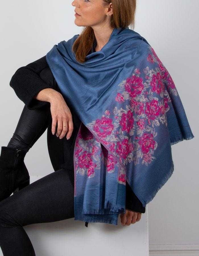 an image showing a blue and pink floral patterned pashmina