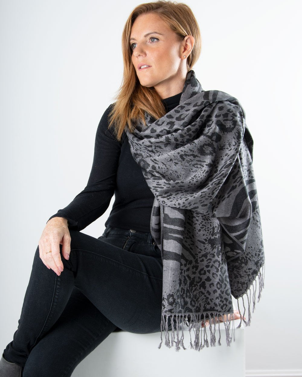 an image showing a silver and black animal print patterned pashmina