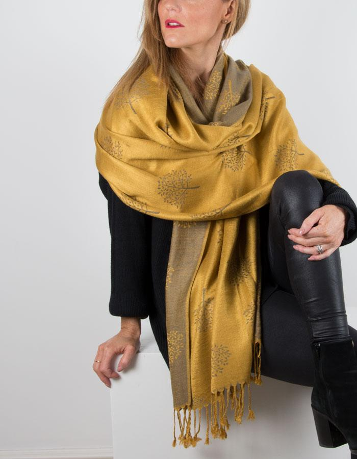 an image showing a mustard coloured patterned pashmina