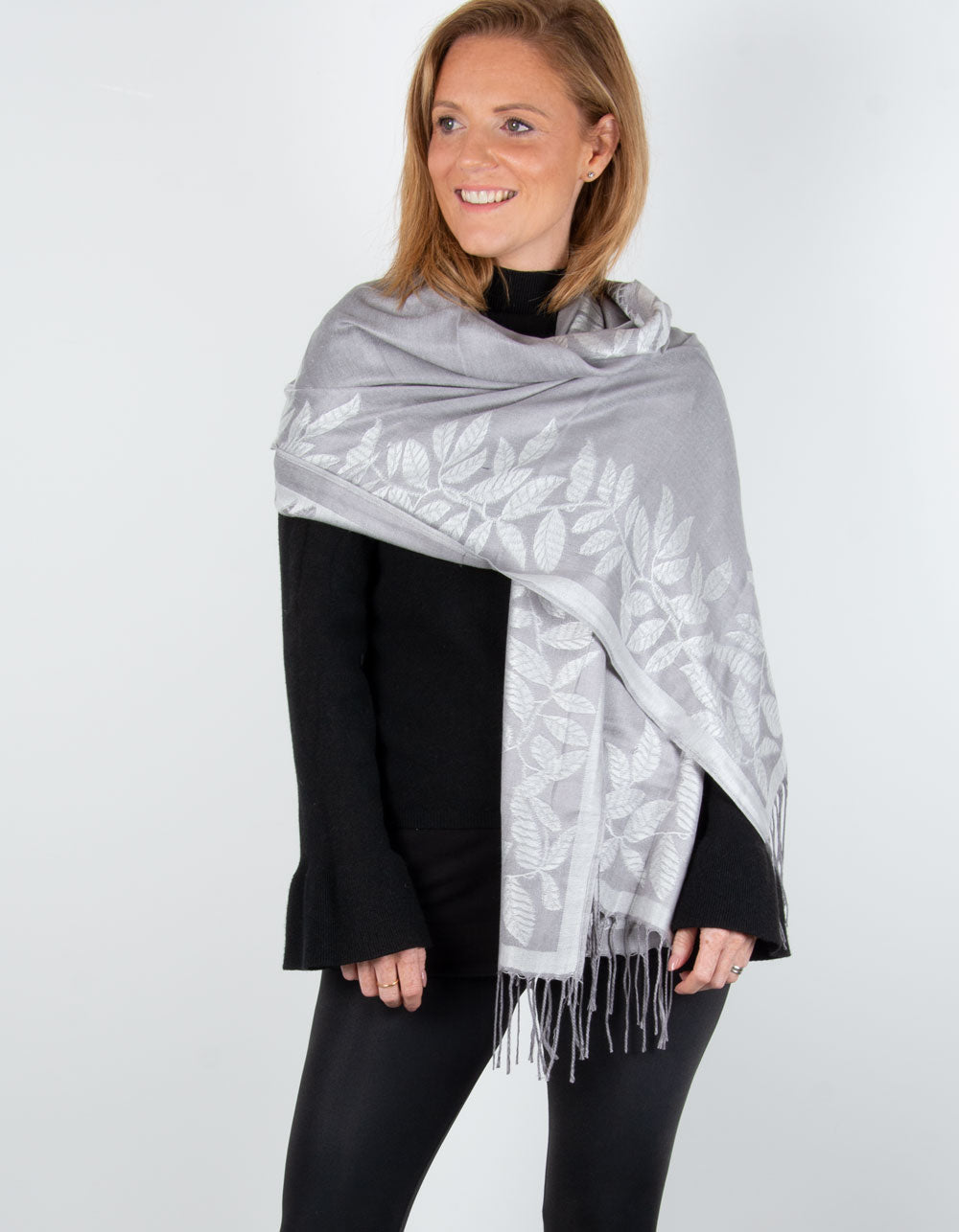 an image showing a silver leaf print pashmina