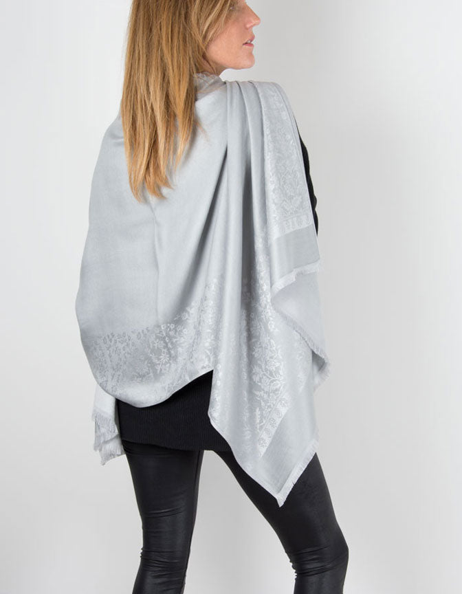 an image showing a silver grey coloured patterned pashmina