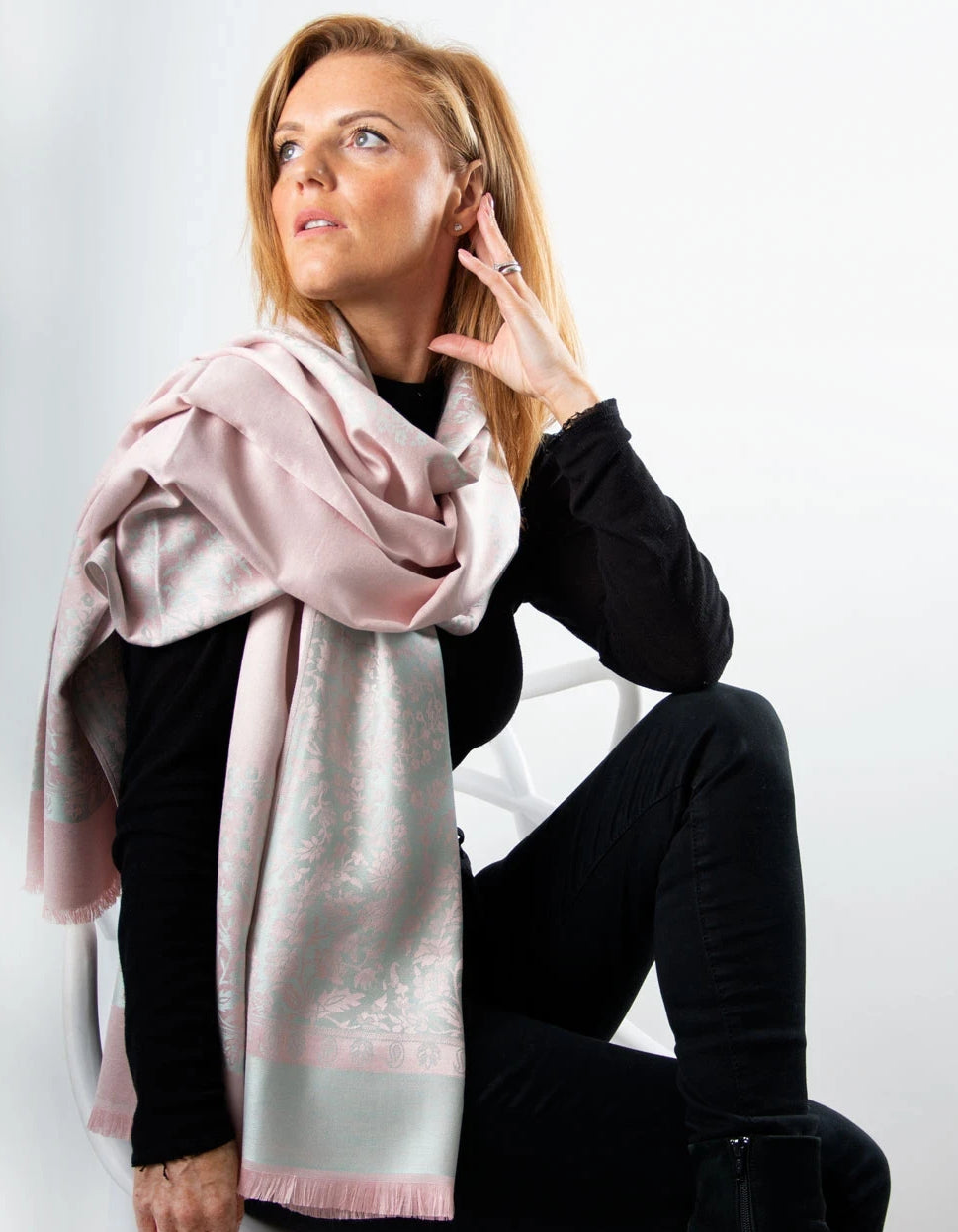 an image showing a Grey and Pink Floral Patterned Pashmina