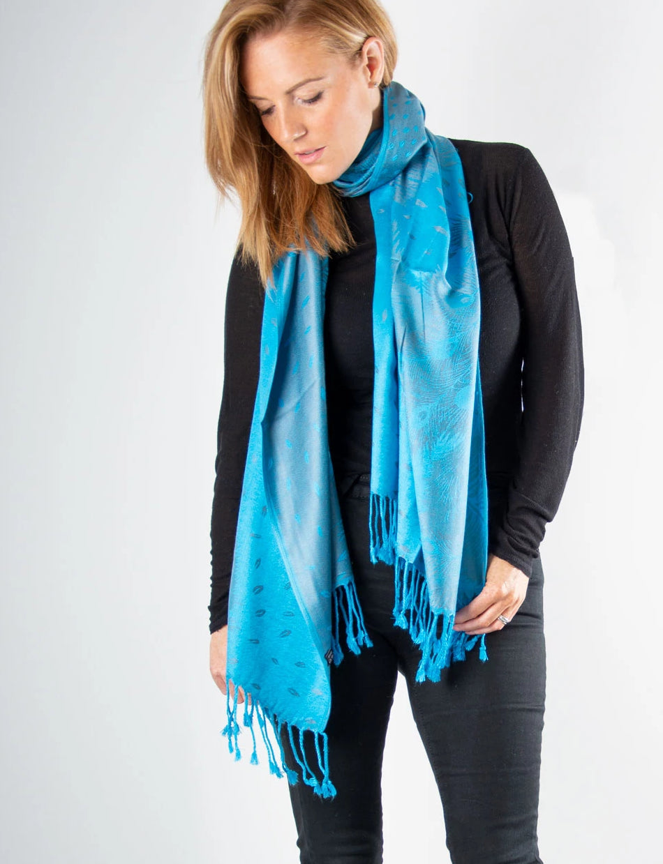 an image showing a Turquoise Blue and Silver Feather Print Pashmina