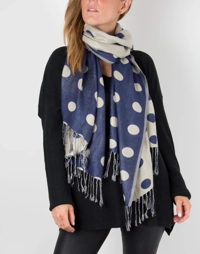 an image showing a Navy & grey Polka Dot pashmina