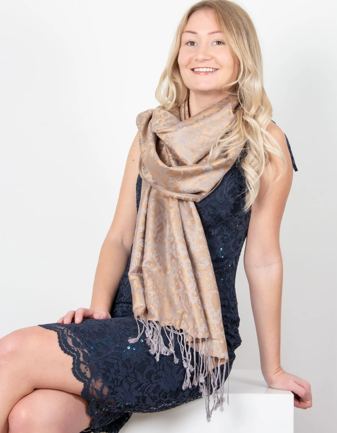 an image showing a Bronze & Grey Floral Print Pashmina