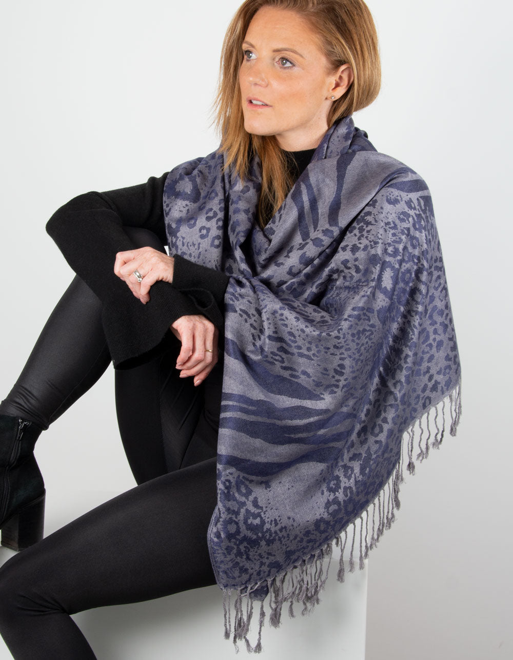 an image showing a blue and silver patterned pashmina