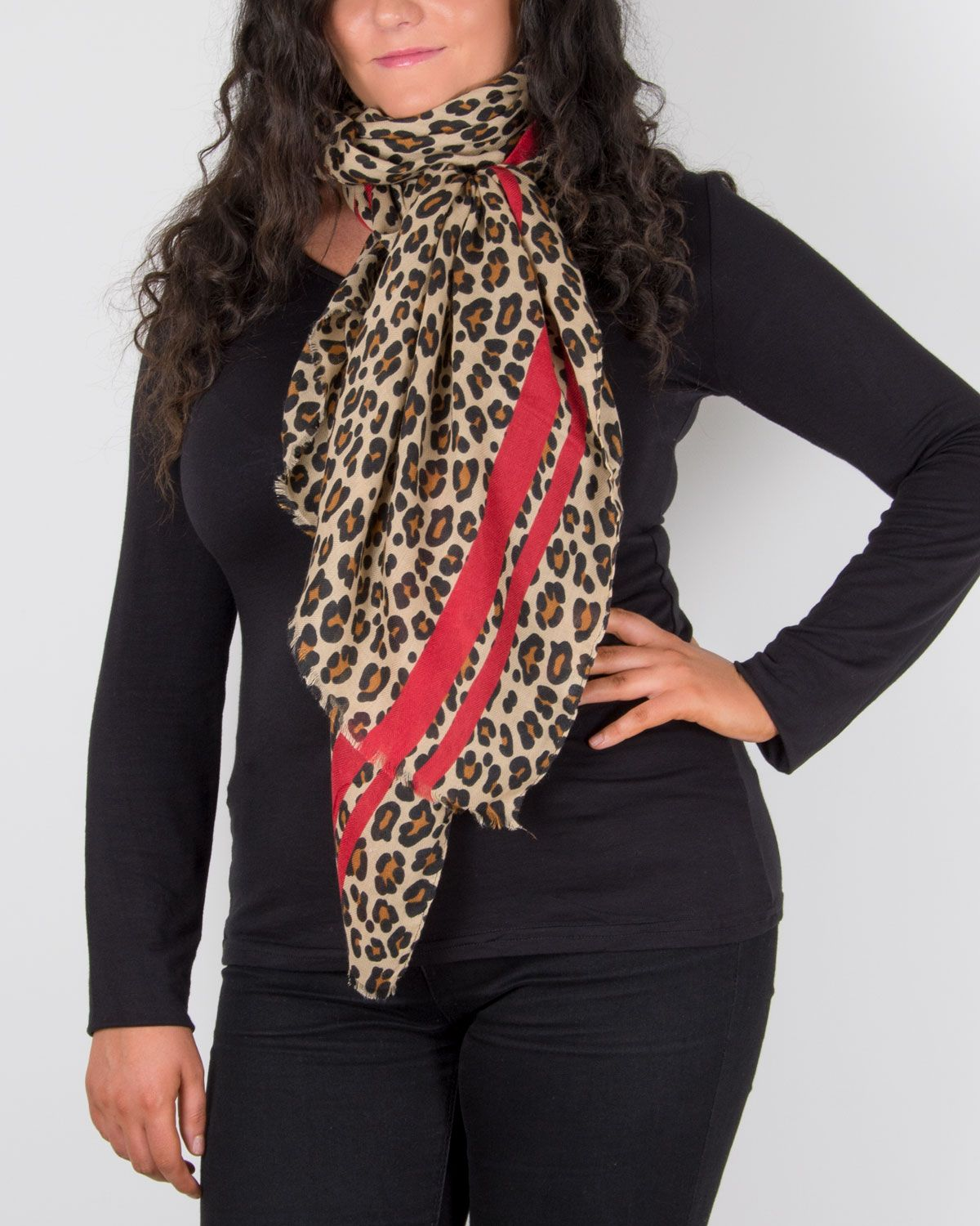 Scarf Room - The No 37 Label Large Leopard Print Scarf b
