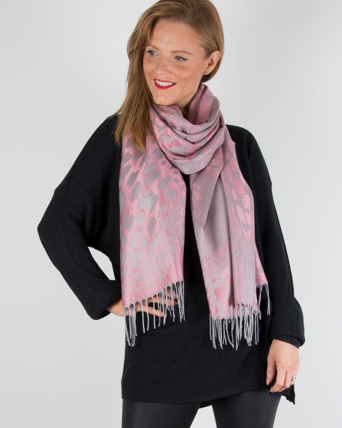 an image showing an animal print silver and pink pashmina