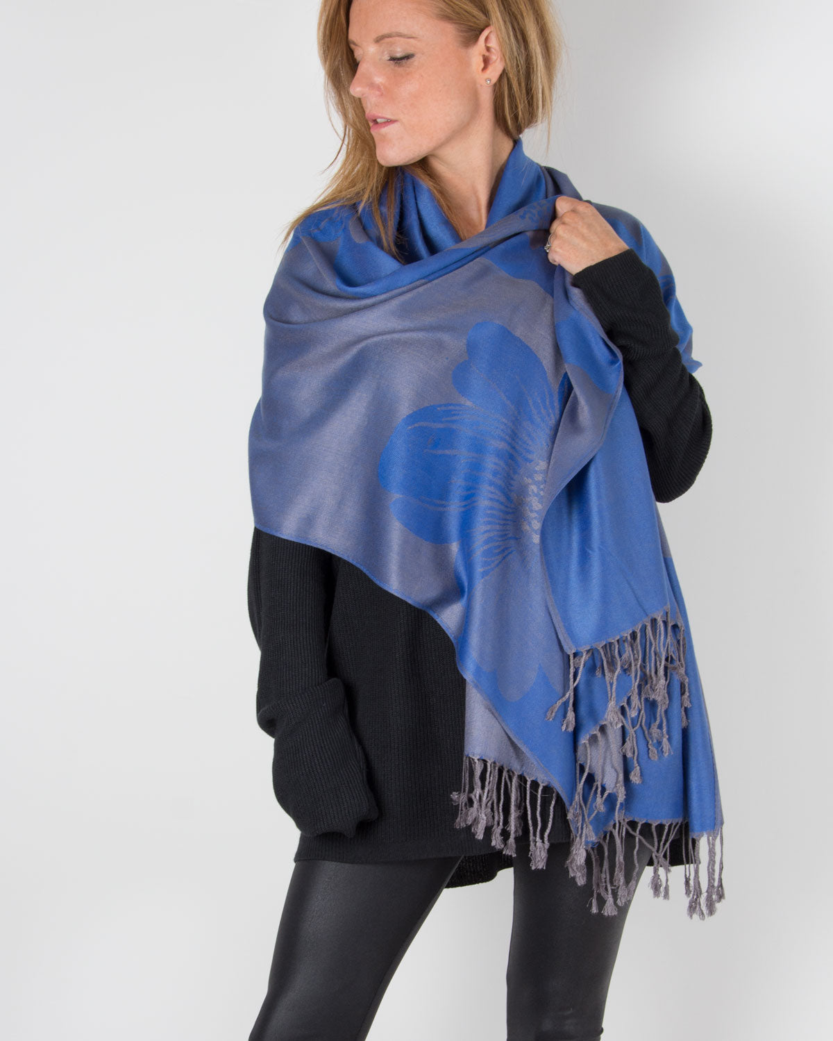 an image showing a blue floral pashmina