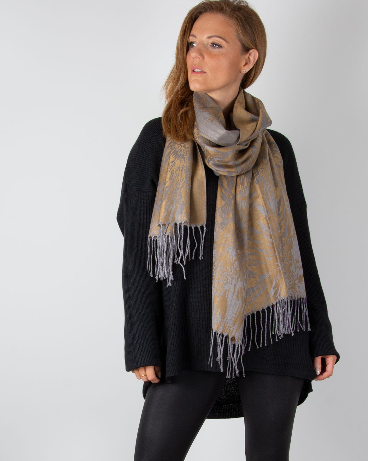an image showing a bronze and grey pashmina