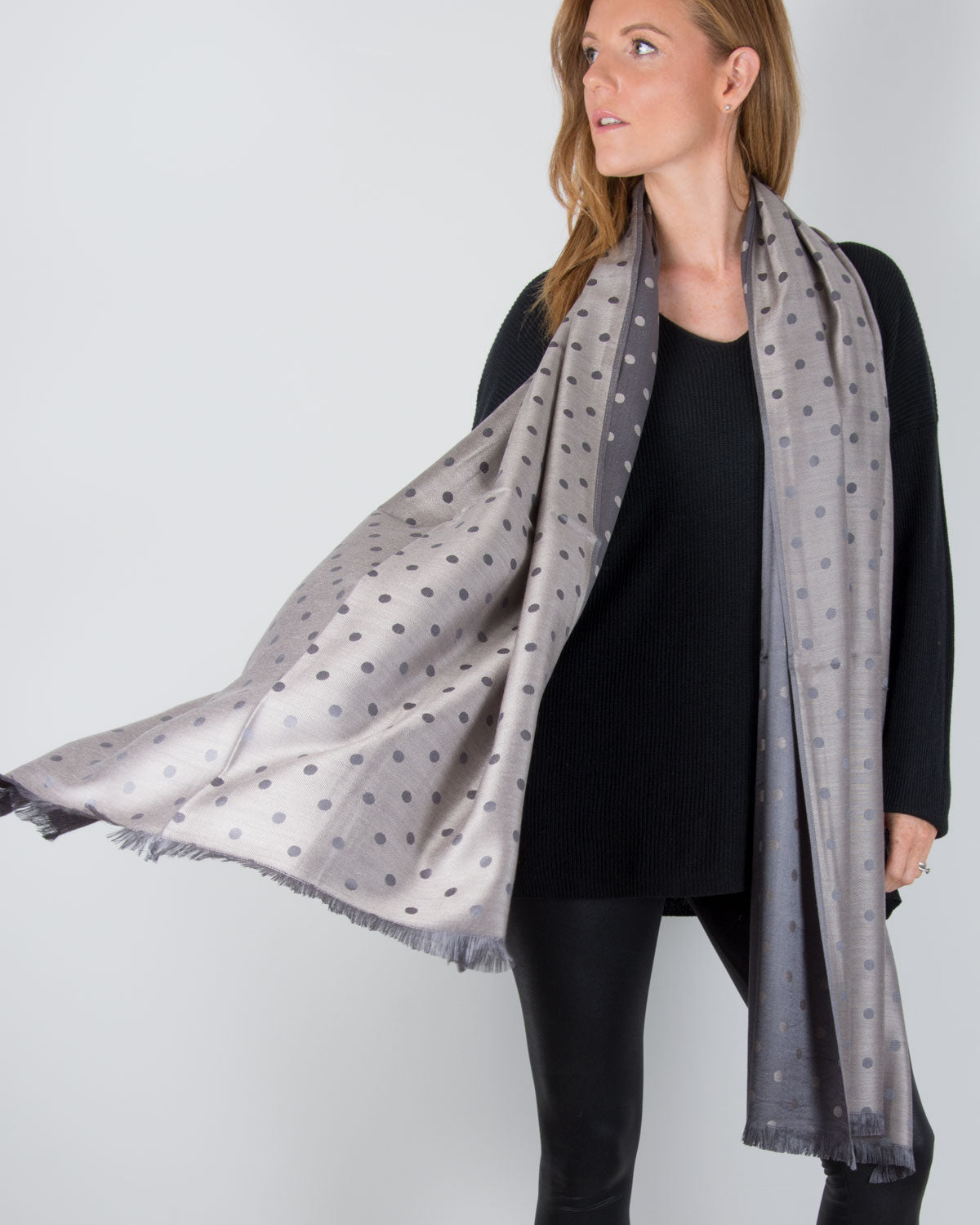 an image showing a grey and bronze spot pashmina