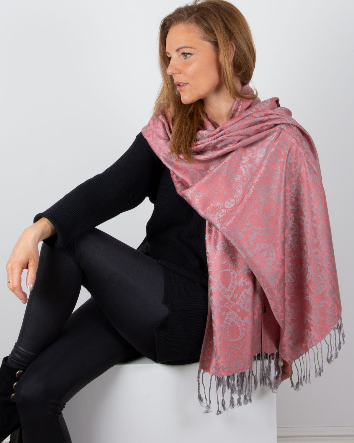 an image showing a pink and silver patterned pashmina