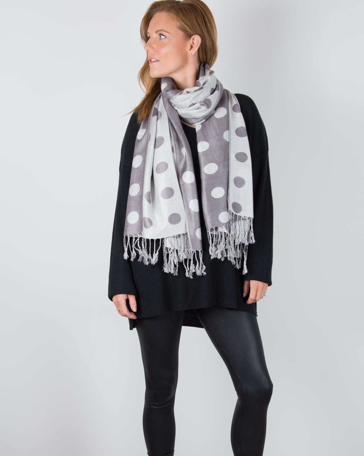 an image showing a grey and silver spot pashmina