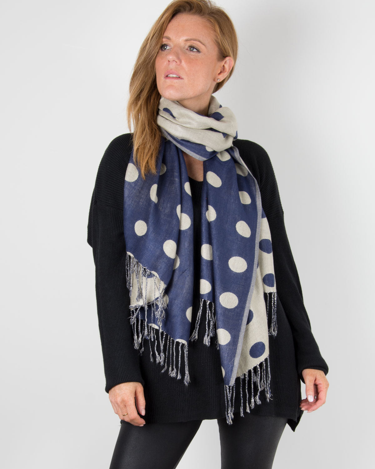 an image showing a blue spotty pashmina