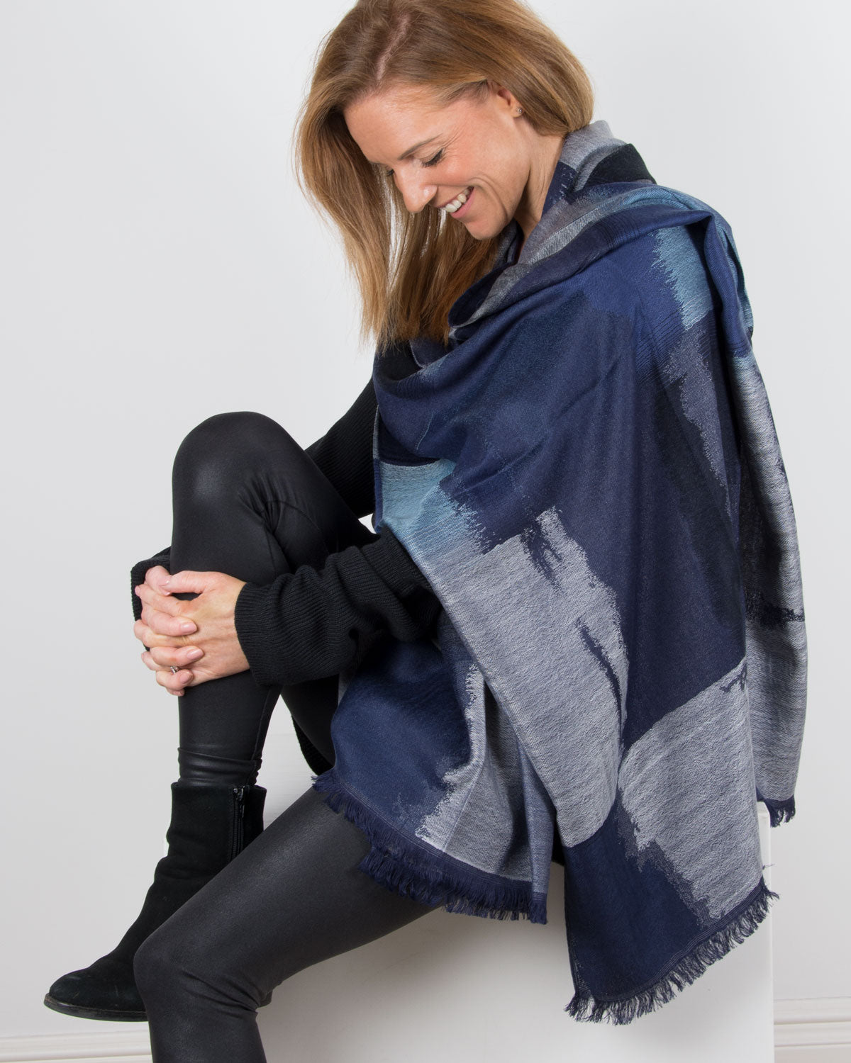 an image showing a blue squares pashmina