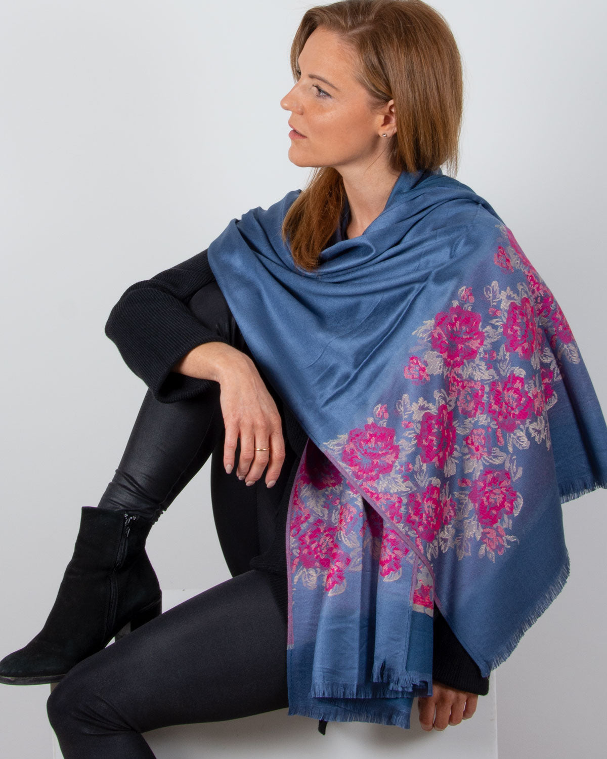 an image showing a blue and floral pashmina